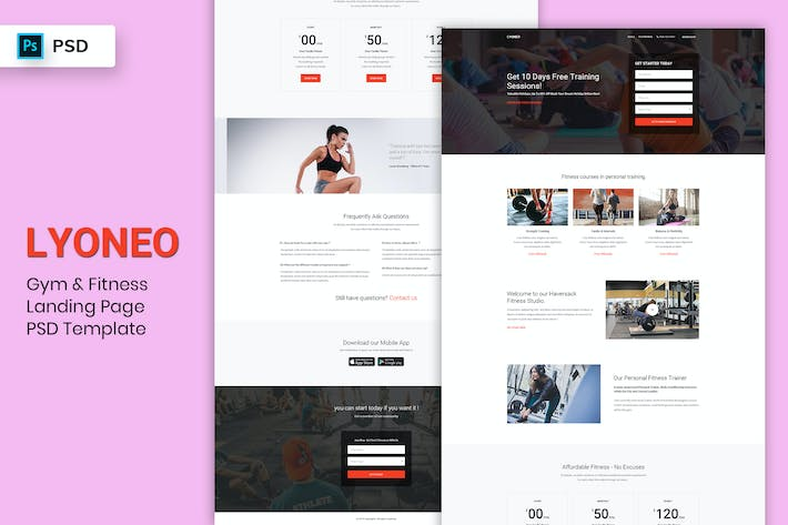 Thumbnail for Gym & Fitness - Landing Page PSD Template