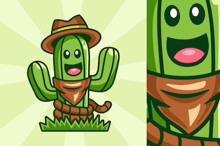 Lächelndes Kaktus-Cowboy-Masko