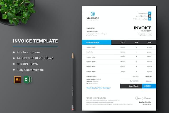 Rechnung editierbare Excel-Vorlage