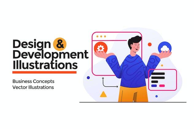 Design and Development illustrations set