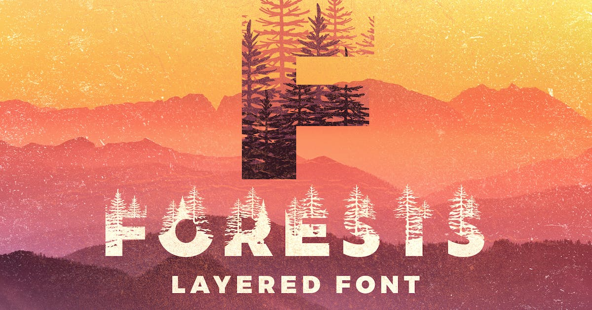 Download Forests Layered Font by Zeppelin_Graphics