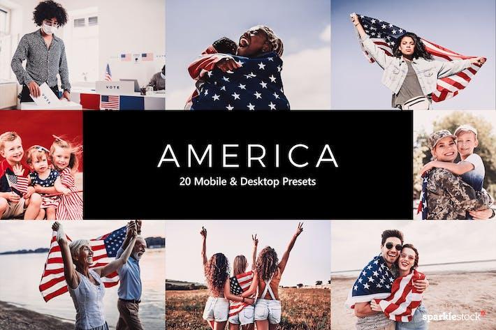 20 пресетов и LUT Америки Lightroom