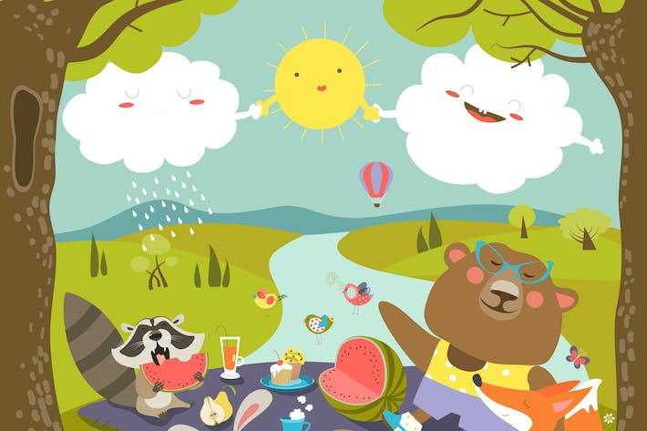 Thumbnail for Animals at picnic in forest. Vector illustration