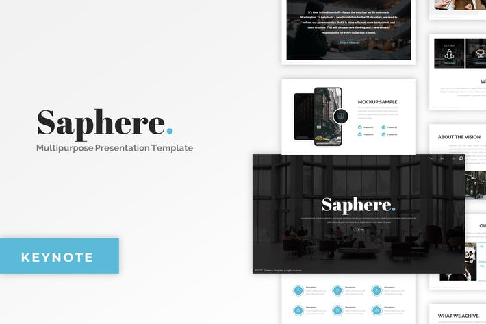 Thumbnail for Saphere - Minimalist Keynote Template