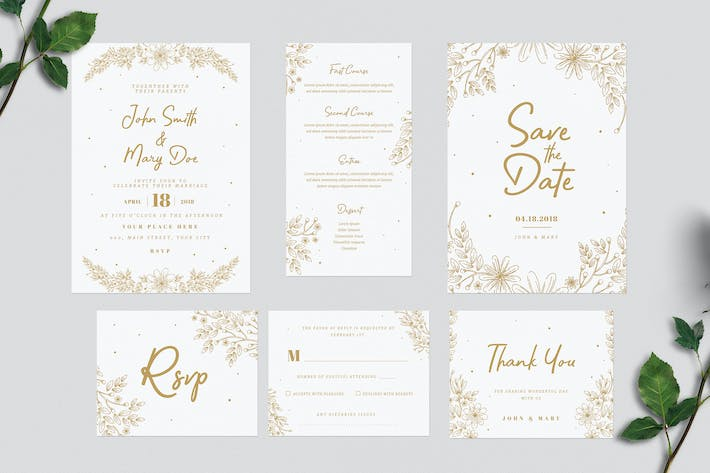 Thumbnail for Gold Floral Wedding Invitation Suite