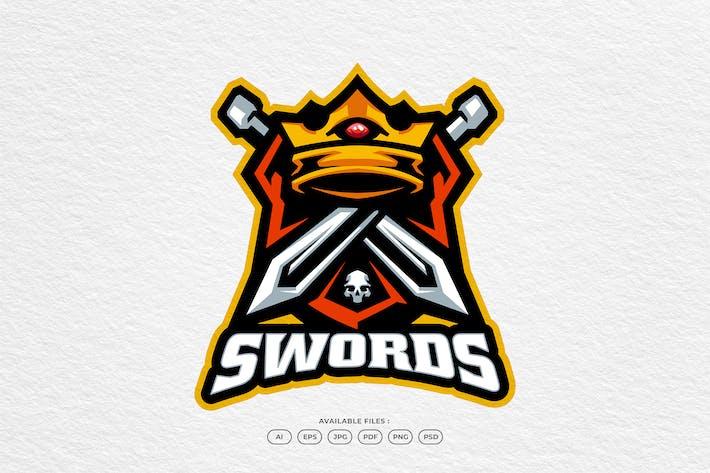 King Crown Sword Knight Royal Emblem Logo Template