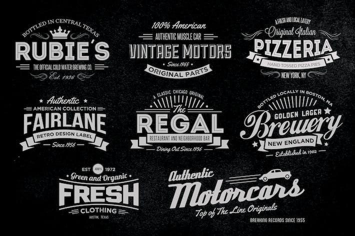 Vintage-Etiketten und Logos Sammlung 1