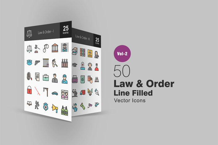 Thumbnail for 50 Law & Order Line Filled Icons
