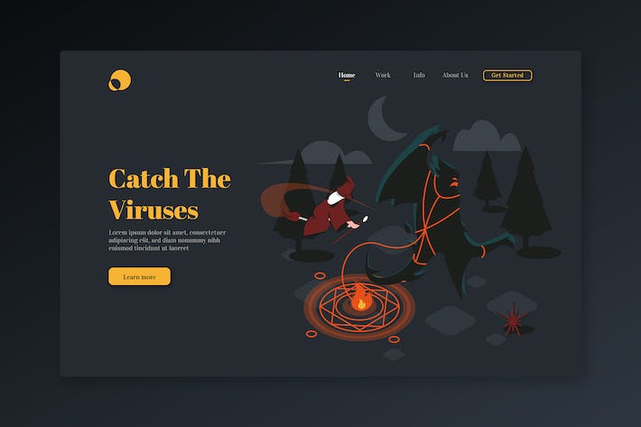 Thumbnail for Catch The Viruses - Isometric Landing Page