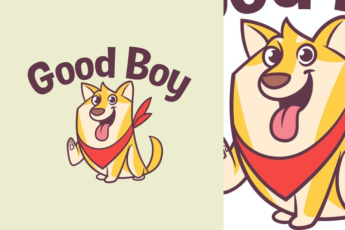 Cartoon Cute Shiba Inu Dog Logo