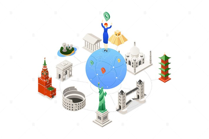 Thumbnail for Travel around the world - isometric illustration