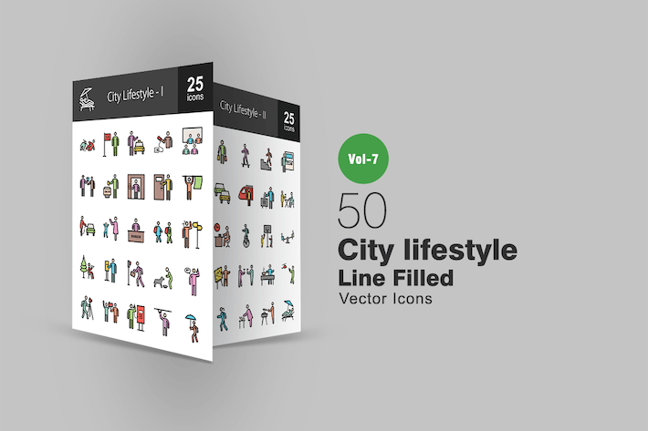 Thumbnail for 50 City Lifestyle Filled Line Icons