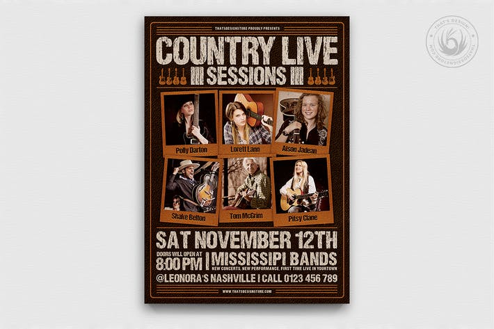 Thumbnail for Country Live Flyer Template V6