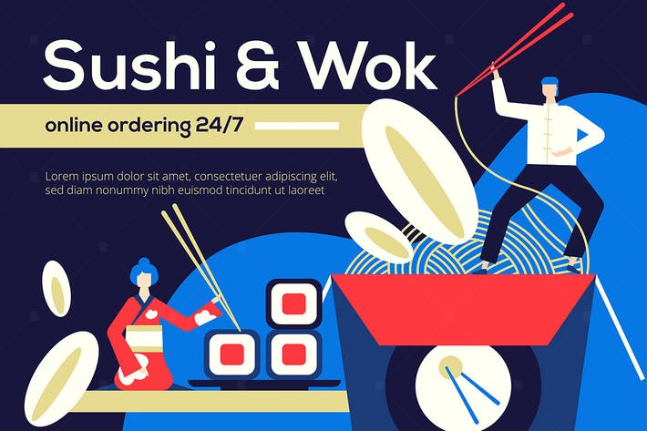Thumbnail for Sushi and Wok - flat design style illustration