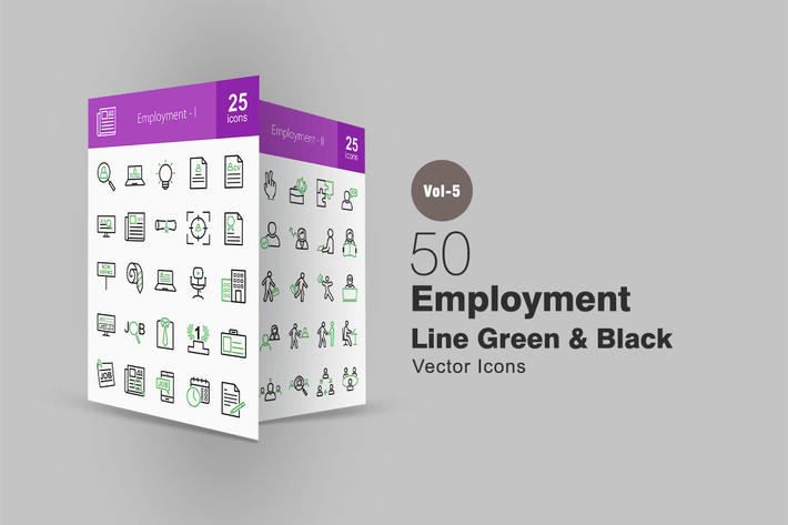 Thumbnail for 50 Employment Line Green & Black Icons