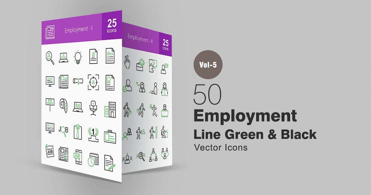 Download 50 Employment Line Green & Black Icons by IconBunny