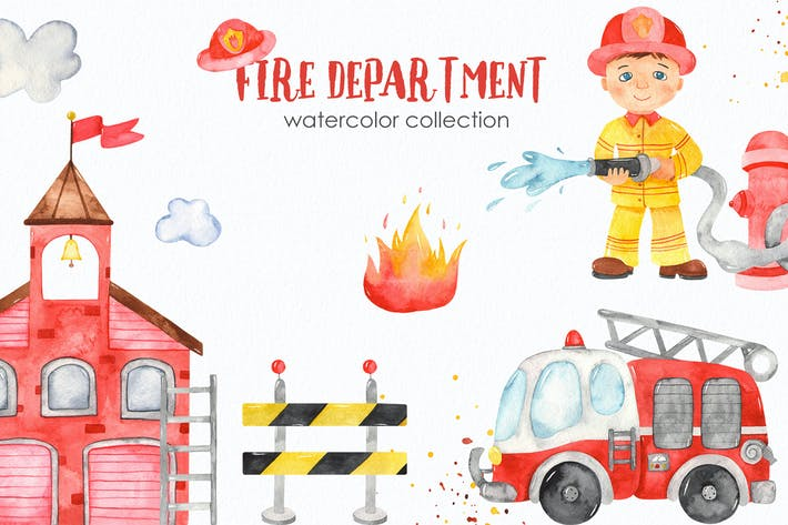 Thumbnail for Watercolor Fire Department Clipart