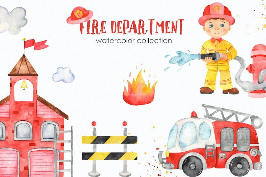 Watercolor Fire Department Clipart