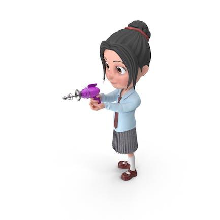 Dibujos animados Chica Emma Disparos
