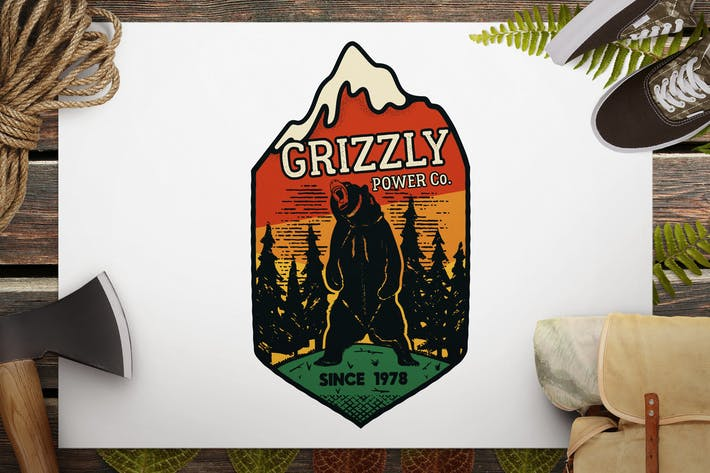 Thumbnail for Wild Animal Retro Logo / Camping Bear Badge