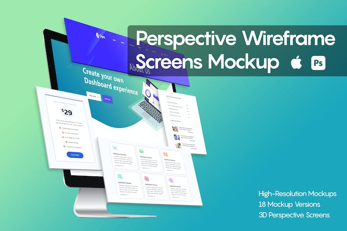 Thumbnail for Perspective Wireframe Screens Mockup