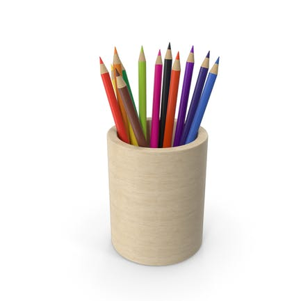 Taza de madera con lápices