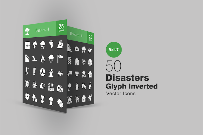 Thumbnail for 50 Disasters Glyphe Inverted Icons