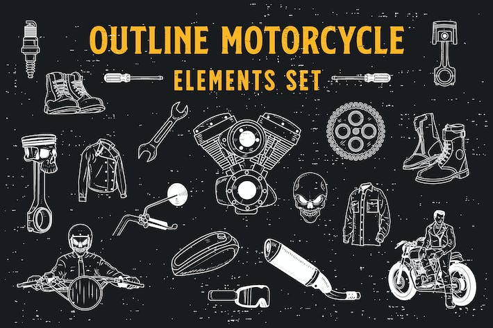 Thumbnail for 18 Outline Motorcycle Elements