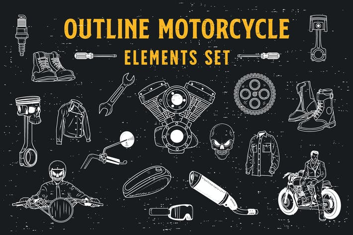18 Outline Motorcycle Elements