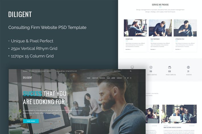 Cover Image For Diligent - Consulting Firm Website PSD Theme