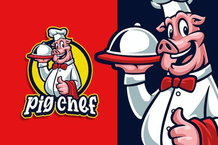 Pig Chef Mascot Character Logo Template