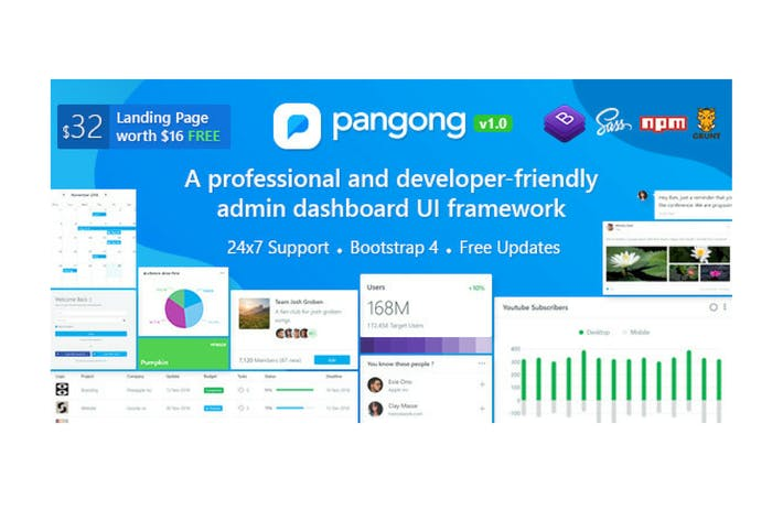 Thumbnail for Pangong - Developer-friendly Bootstrap 4 Admin