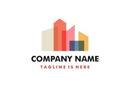 Building City Skyline Colorful Overlay Logo