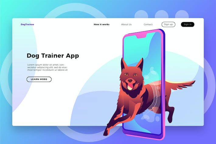 Thumbnail for Dog Trainer App - Banner & Landing Page