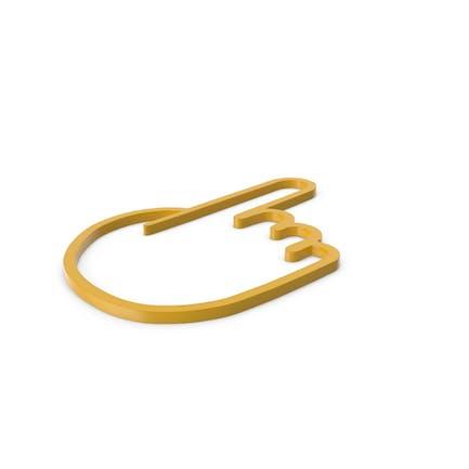 Icono amarillo de un dedo