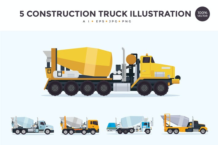 Thumbnail for 5 Construction Mixer Truck Vector Illustration Set