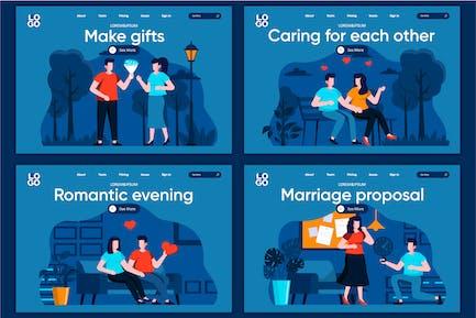 Modèle de page de destination Marriage Plat Concept