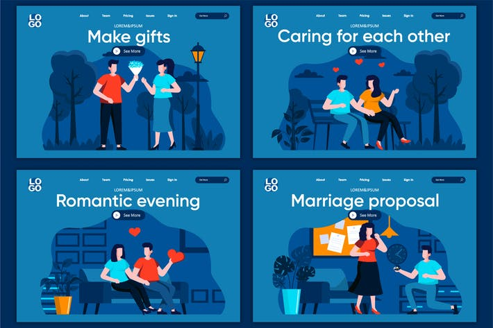 Thumbnail for Marriage Flat Concept Landing Page Template