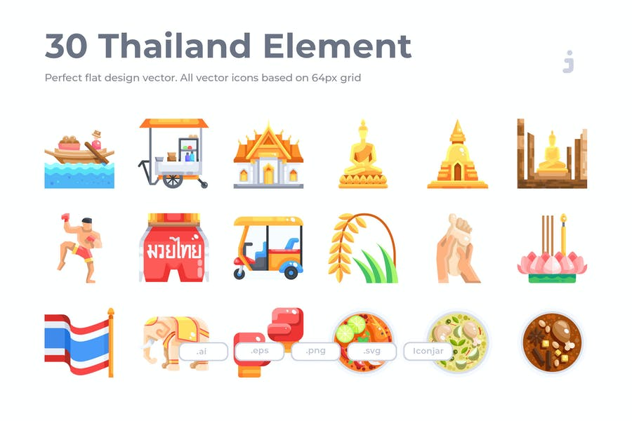 30 Thailand Element Icons - Flat