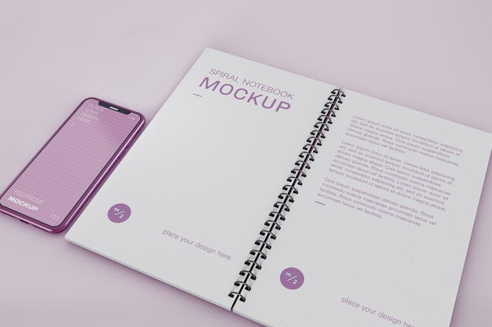 Thumbnail for Smartphone with Spiral Notebook Mockup