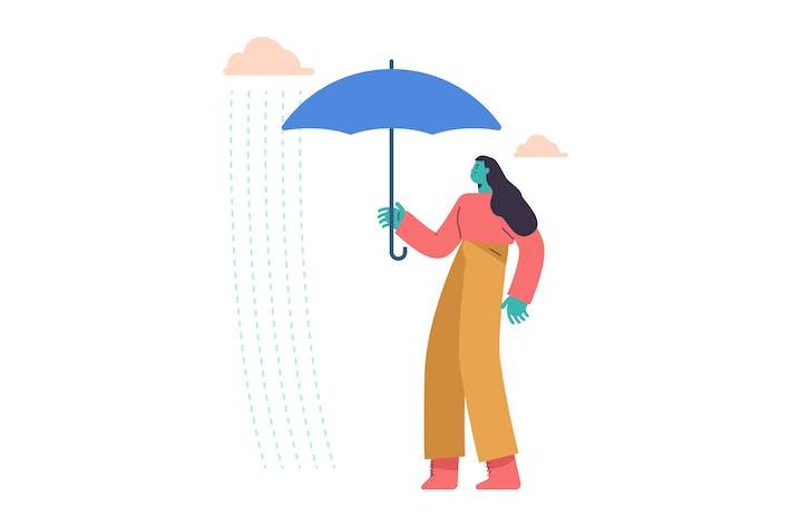 Ilustración plana de lluvia