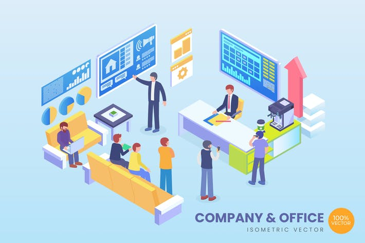 Thumbnail for Isometric Company & Office Vector Concept