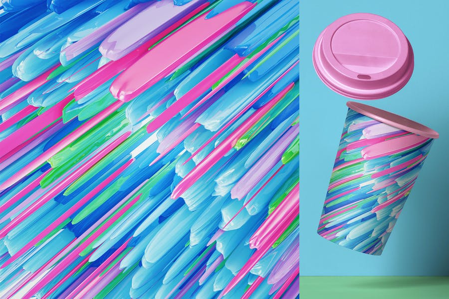 3D Abstract Neon Backgrounds