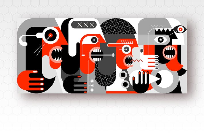 Thumbnail for Group of Angry People vector illustration