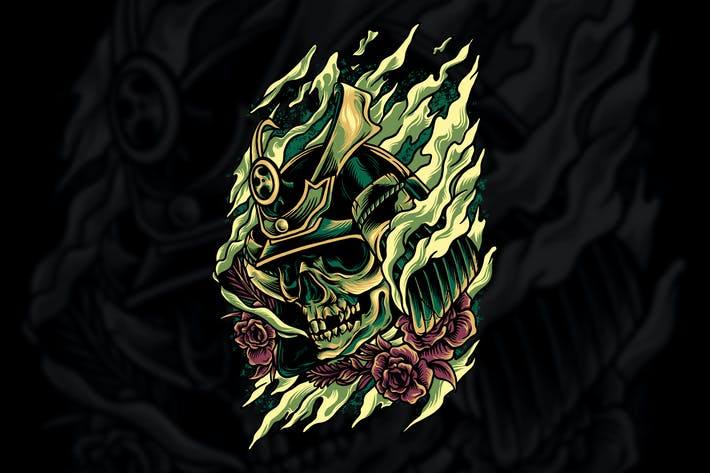 Skull Samurai Illustration