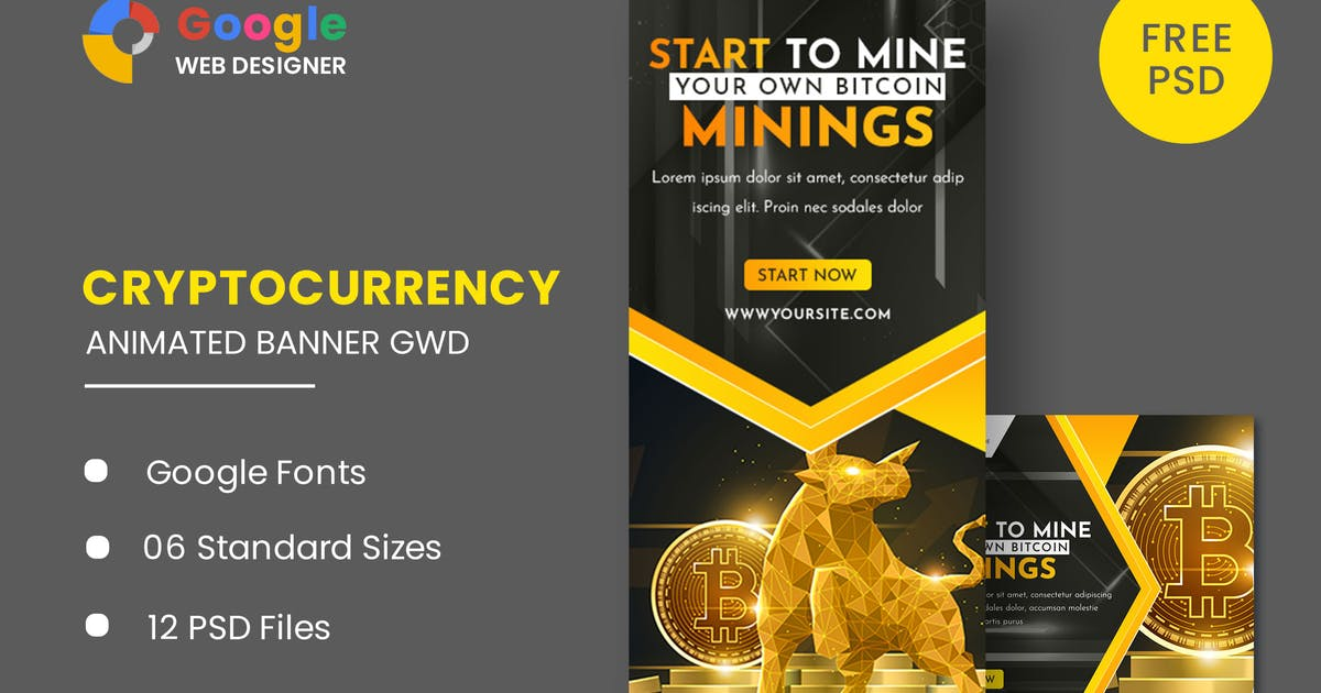Download Cryptocurrency Animated Banner GWD by IsLein