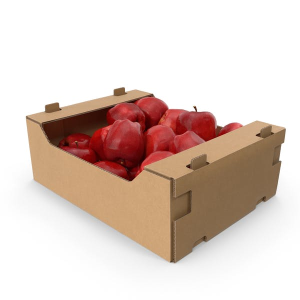 Cardboard Box With Red Chief Apple