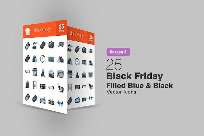 Thumbnail for 25 Black Friday Filled Blue & Black Icons
