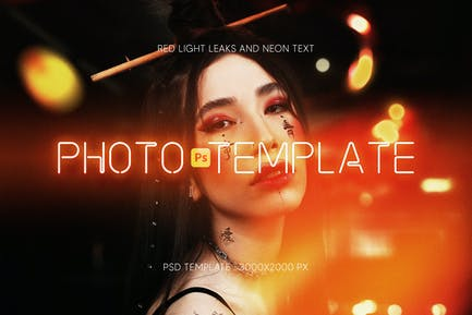 Photo Template with red light leaks and neon text
