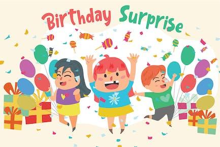 Birthday Surprise - Vector Illustration